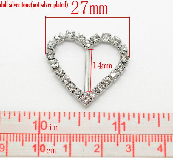 Antique Silver Rhinestone Ribbon Slider Buckles, Heart 27x26mm, 10pcs