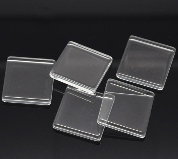Cabochon, glass, clear, 25x25mm flat square. 10pcs