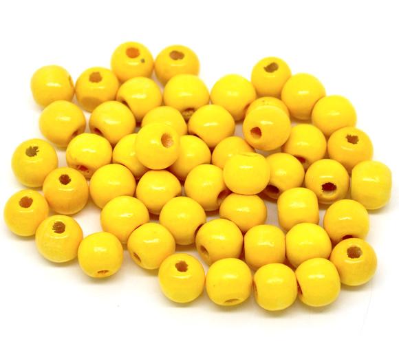 Wooden Beads Round, 10x9mm, Yellow, 200pcs