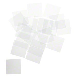 Art glass, clear, 1.5x1.5 inch flat square with grounded edges, 0.90mm thick.  20pcs