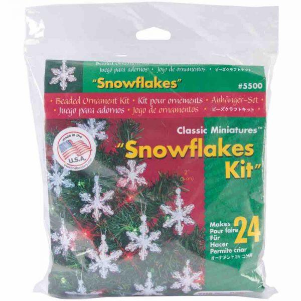 Beaded Christmas Kit - Mini Snowflakes - 2 inches, 24pcs