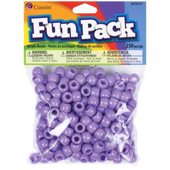 Pony Beads Purple - opaque, 9x6mm, 250pcs