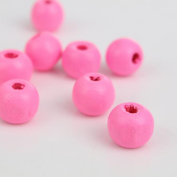 Wooden Beads Round, 10x9mm, Pink, 200pcs