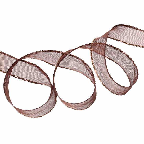 Organza Ribbon, 25mm, Brown, 20 yards
