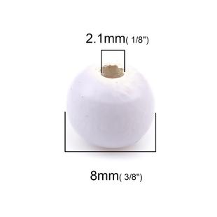 Wooden Beads Round, 8mm, Mauve, 100pcs