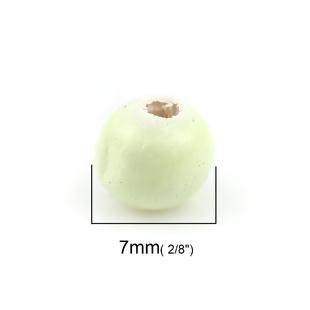 Wooden Beads Round, 7mm, Light Green, 100pcs