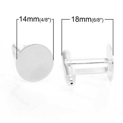 Silver Plated, Cuff link, 27x14mm, 14mm flat round pad. 5 pairs