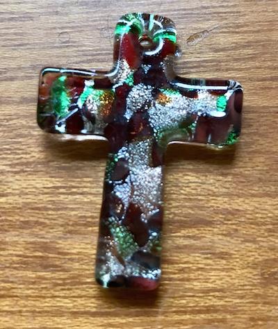 Glass Pendant, Cross, Multi Coloured 40 x 28mm, 1pc