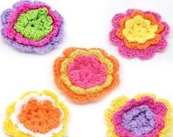 Handmade Crochet Flowers, Multi coloured, 40mm, 50 pcs
