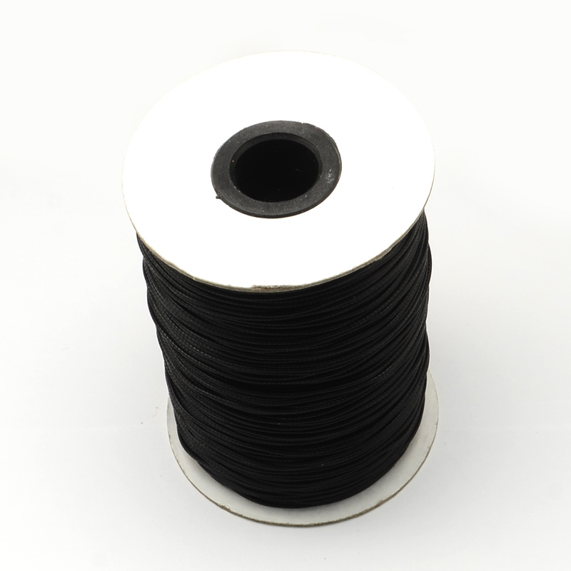Waxed Polyester Cord, Black, 1mm, 200 yards - Made In Korea
