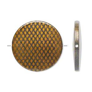 Acrylic Bead, Flat Round, Black Brown, 41mm, Snakeskin pattern, 10pcs
