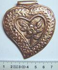 Antique Copper Heart Pendant, 65mm x 75mm, hole 2mm, 1pc   - Steampunk