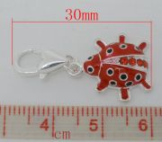 Clip on charm, Ladybug, silver plated, enamel red, 30 x15mm, 1pc
