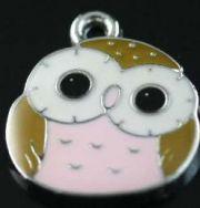 Owl Charms, 17x14mm, Pink, 2 pcs -  Enamel Cute