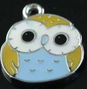 Owl Charms, 17x14mm, Blue, 2 pcs -  Enamel Cute