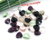 Crystal Quartz - Faceted Heart Drop Beads, Mixed Colours, 10x10mm, 50 pcs style 2