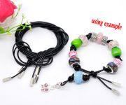 Black Real Leather Lariat Bracelet /Necklace. Fits large hole beads 100cm length,  3 strands