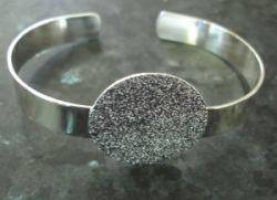 Silver Plate, Bracelet Cuff, 60mm inner diameter, pad is 25mm wide,  1pc