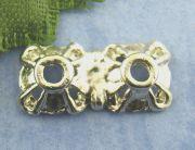 Antique Silver Twosome End Bead Caps 7x15mm, 60 pcs
