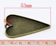 Antique Bronze, Pendants, heart shape, Blank Casing, 53x30mm. 5pcs