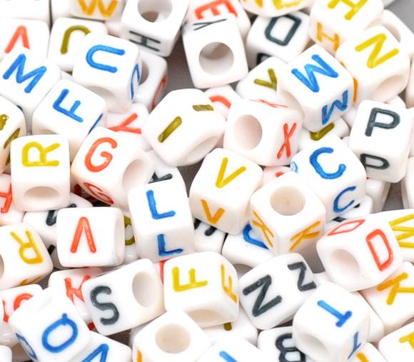 "Acrylic White Alphabet/Letter ""A-Z"" Cube Beads, 6 x 6mm, 500 pcs"