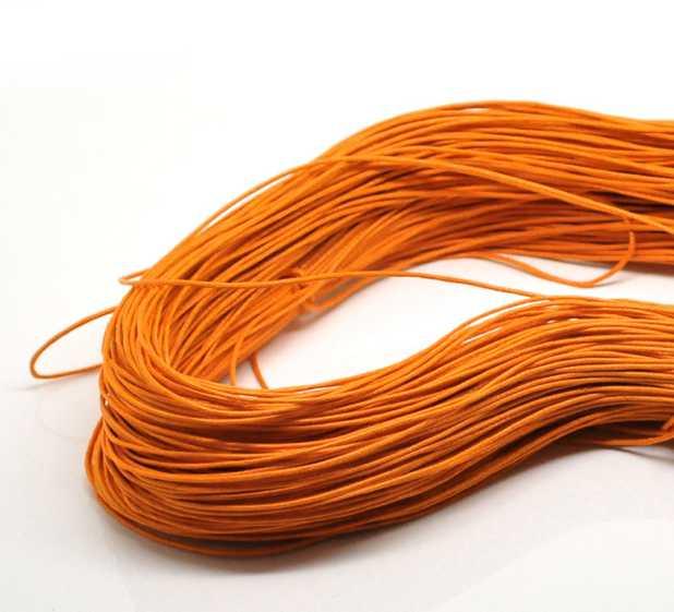 Waxed Cord, Orange, 1mm, 80 metres