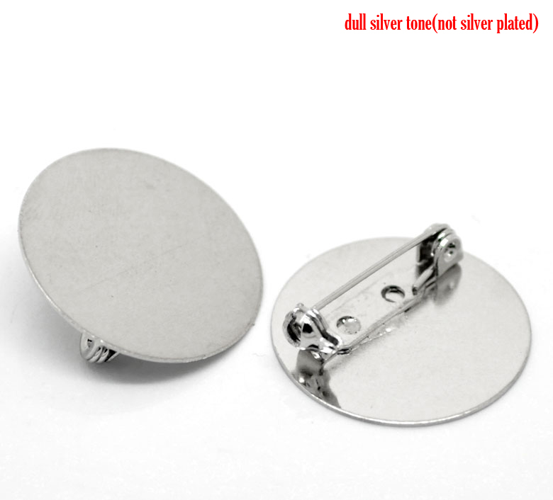 Antique Silver, Brooch, 25mm, with 25mm pad, 20pcs