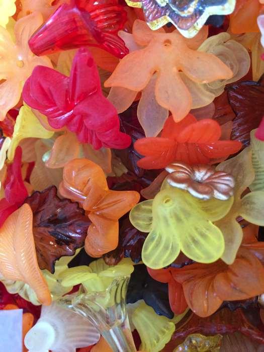 Acrylic Flower & Leaf Beads, Mixed Colours, Autumn, 100 grams,