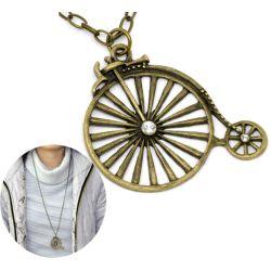 "Antique Bronze Rhinestone Bicycle Pendant Necklaces 31-1/2""(80cm), 1pc"