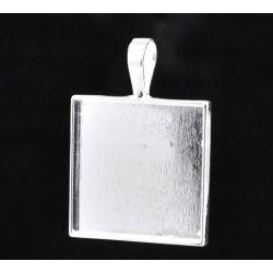 Silver Plate Picture Frame Square Pendants 38x27mm, 10pcs