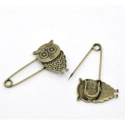 Antique Bronze Safety Pin Brooches, Owl 1pcs