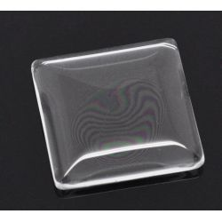 Cabochon, glass, clear, 25x25mm Tile dome. 10pcs - rounded style