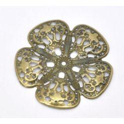 Antique Bronze, Wrap Connectors, Flower, 48x48mm, 30pcs
