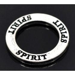 """Antique Silver Affirmation Charm, """"Spirit"""", 23mm, 20pcs"""