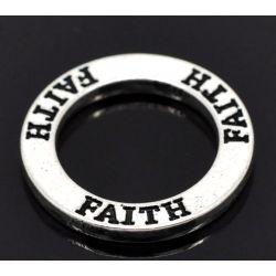"""Antique Silver Affirmation Charm, """"Faith"""", 23mm, 20pcs"""