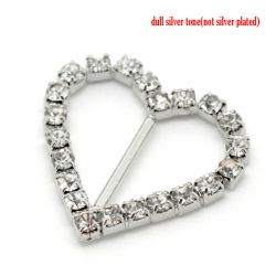 Antique Silver Rhinestone Ribbon Slider Buckles, Heart 27x26mm, 10pcs