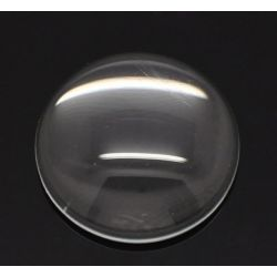 Cabochon, glass, clear, 18mm round dome. 30pcs