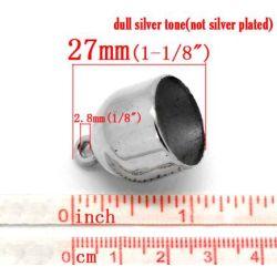Antique Silver Wrap Scarf Cap Drops 27x21mm, 30pcs