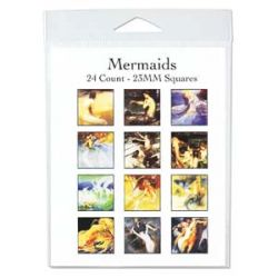 Mermaids 23mm, square 4 x 11 inch collage sheet, 24 images