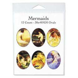 Mermaids 30 x 40mm, 4 x 11 inch collage sheet