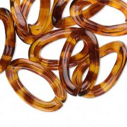 Acrylic Chain link, amber color, 30x18mm open twisted oval. 10pcs