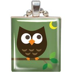 Scrabble Tile Pendant - Hoot Owl  - Jesse James