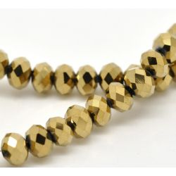 Crystal Glass Faceted Rondelle, 8x6mm, gold tone 3 strands