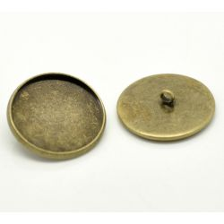 Antique Bronze Cabochon Setting Buttons, 22mm (fit 20mm), 20pcs