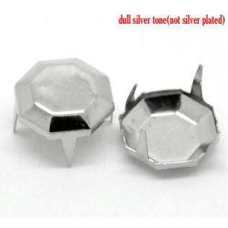 """Antique Silver Octagon Concho Spike Rivet Studs Spots Punk Style 12x12mm(1/2""""x1/2""""), 200pcs"""