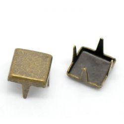 """Antique Bronze Square Spike Rivet Studs Spots 6x6mm(1/4""""x1/4""""), 500pcs"""