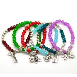 """Mixed Dangle Beads Glass Beads Elastic Bracelets 19cm(7-1/2"""") 6pcs"""