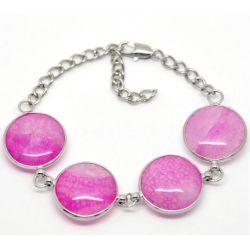 Art Deco Style Fuschia Cabochon bracelet 17-22cm 1pc