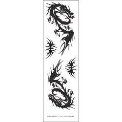 "Temporary Tattoo Black/White 3.5""X14"" Sheet, Tribal Dragons"