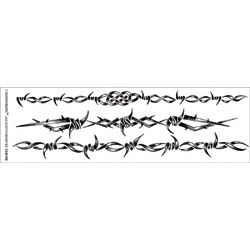 """Temporary Tattoo Black/White 3.5""""X14"""" Sheet, Barbed Wire Band"""